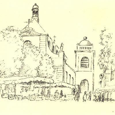 Cathédrale de Choisy-le-Roi croquis avec droits Brigitte Brucelle